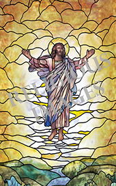 Ascension   stained glass church window film cling