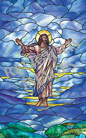 Ascension stained glass window film design