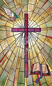 decorative stained glass church window film design