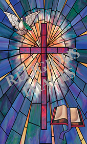 cross bible and dove glass window film cling design