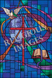Geometric cross stained glass design