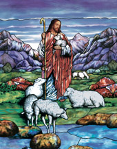 The Good Shepherd stained glass window film