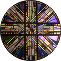 kaleidoscope decorative stained glass window film cling design