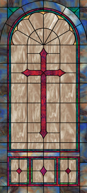 Decorative stained glass church window film cross designs IN1