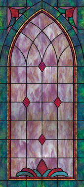 Decorative church window film clings cross design