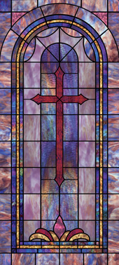 Decorative faux stained glass church window film cross design IN6