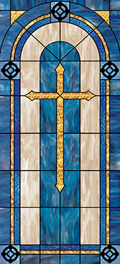 Decorative church window film cross design