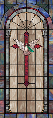 Church window film appliqué cross design