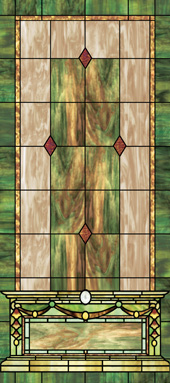 Stained glass church window film cross design