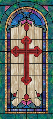 Stained glass cross window film