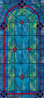 Decorative faux stained glass church window film designs IN18