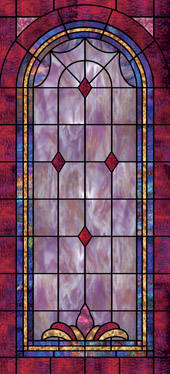 Decorative faux stained glass church window film designs IN23