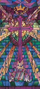 Stained glass church window film cross covering