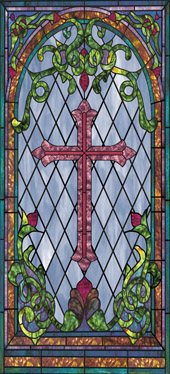 Decorative faux stained glass church window film designs IN29