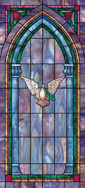 Decorative faux stained glass church window film designs IN33