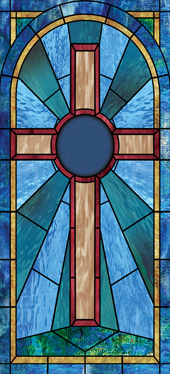Cross stained glass church window film design