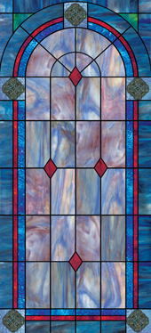 Decorative faux stained glass church window film designs IN37