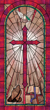 Faux stained glass church window film cross design