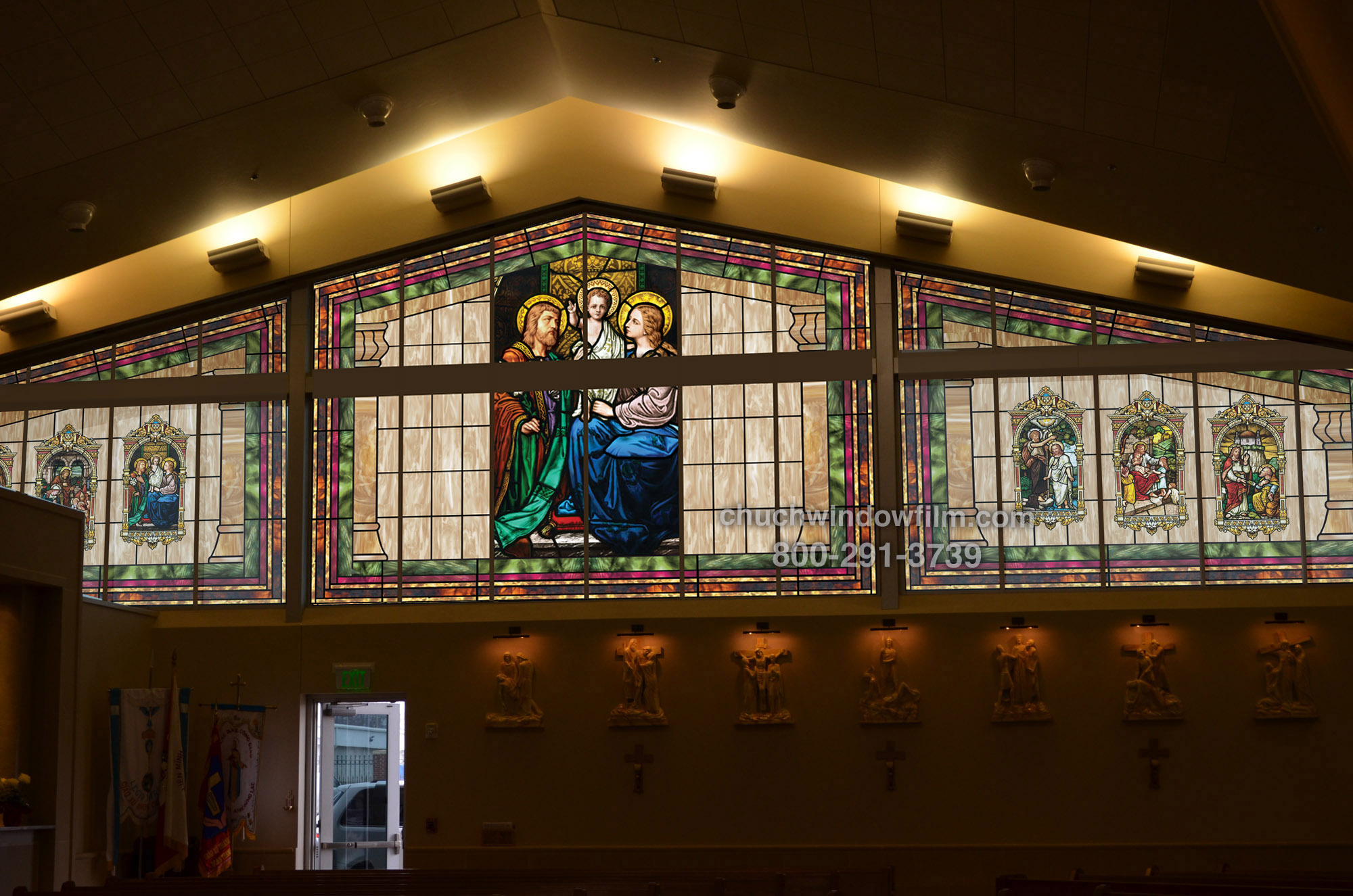 Church window film decorative stained glass window film for Custom window designs