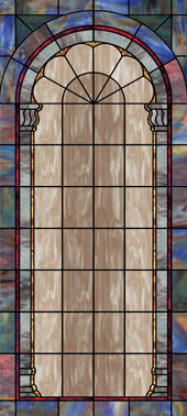 Faux stained glass window UV film design for churches