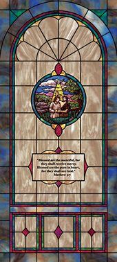 Decorative stained glass church window film appliqué  medallion and scripture design IN1