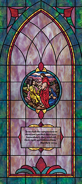 Decorative stained glass church window film decal medallion and scripture design IN2