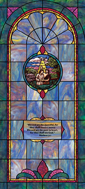 Decorative stained glass church window film cling medallion and scripture design IN3