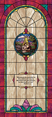 Decorative stained glass church window film appliqué medallion and scripture design IN4