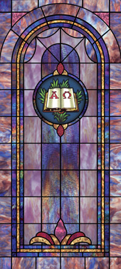 Decorative stained glass church window film covering medallion and scripture design IN6