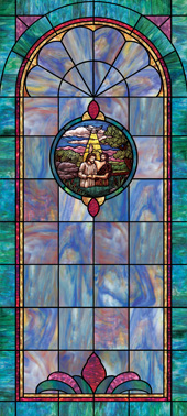 Decorative stained glass church window film cling medallion and scripture design IN8