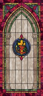 Decorative stained glass church window film decal medallion and scripture design IN9