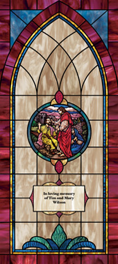 Decorative stained glass church window film medallion and scripture design IN10