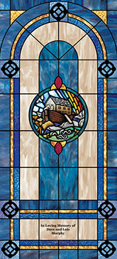 Decorative stained glass church window film decal medallion and scripture design IN11
