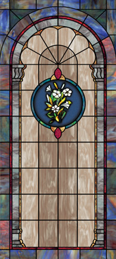 Decorative faux stained glass church window film medallion and scripture design IN12