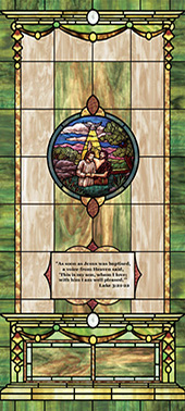 Decorative stained glass church window tint film covering medallion and scripture design IN13