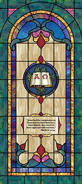 Decorative stained glass church window film cling medallion and scripture design IN14