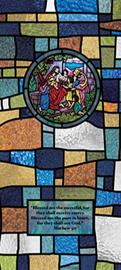 Decorative stained glass church window film medallion and scripture design IN15