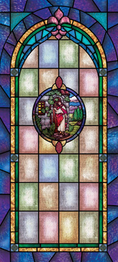 Decorative stained glass church window film medallion and scripture design IN16