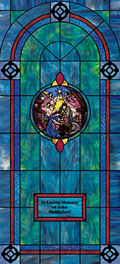 Decorative church window film cling medallion and scripture design IN18
