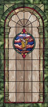 Decorative stained glass window film medallion and scripture