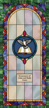 Decorative stained glass church window film medallion and scripture design