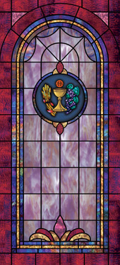Decorative faux stained glass church window film medallion and scripture
