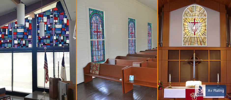 custom stained glass window tint film for churches and architects