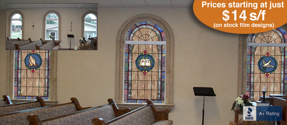 Decorative stained glass window film designs for churches