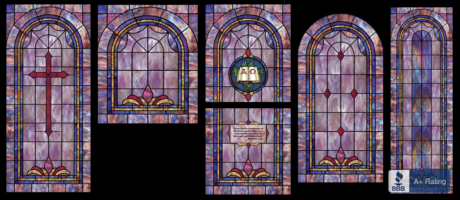 Stained glass window films are available for any window size