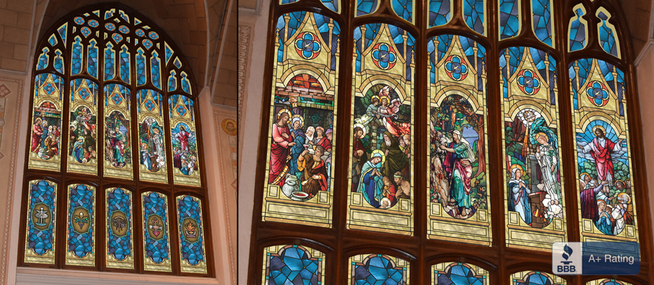 custom stained glass window tint film for churches on sale